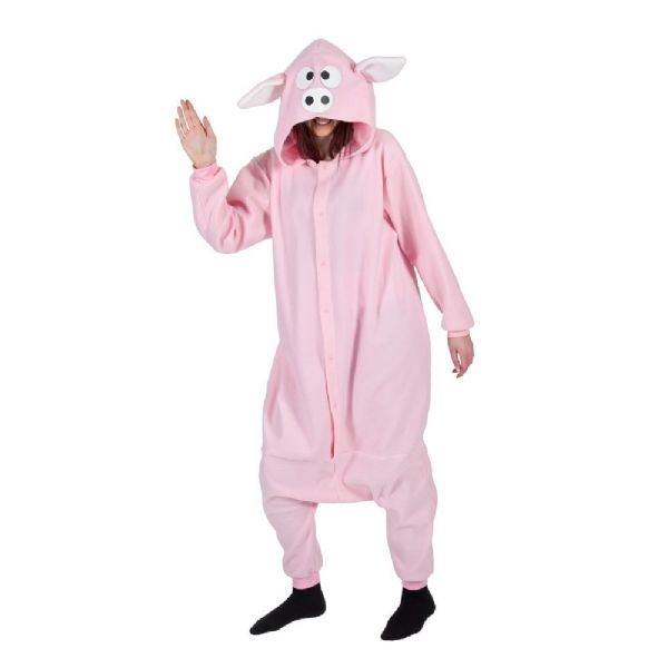 Adult Unisex Piggy Fleecy All in 1 Costume Outfit Animals Creatures Fancy Dress Piggy